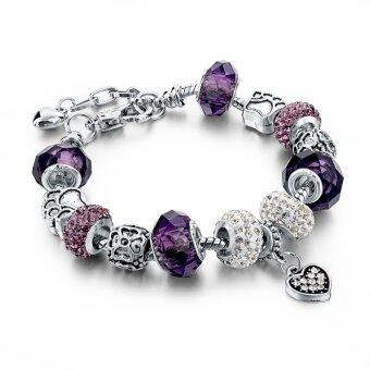 Harga Jochebed Summer 925 Sterling Murano Glass & Crystal DIY Charm Bracelets Fits Pandora Bracelets for Women Love Pulseras Jewelry (Silver)