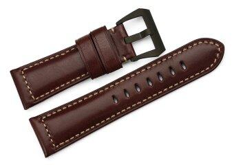 Harga iStrap 26mm Smooth Finish Genuine Italy Leather Watch Strap Padded Men's Watch Belt - Dark Brown