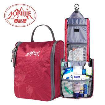 Harga AONIJIE Travel Kit Portable Wash Bag Waterproof Wash Bag Male Women Fashion Toiletries Bag - Red