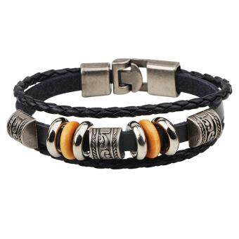 Harga Leather Wrap Bracelet Punk Style QNW2164