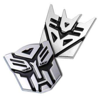 Harga 7cm Silvery Personalized Transformers Autobot Car Metal Decal Sticker - Intl