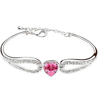 Harga LOVENGIFTS Swarovski Sweet Girl Heart Bangle (Pink)