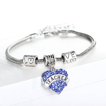Harga New Year Gift Silver Alloy Blue Crystal Love Heart Charm Beads Pendant Bracelet Jewelry for Teacher
