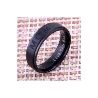 Harga LOVE YOU MOM' Titanium Carving Ring Women's Ring Mother's Day Gift for Mom Rings Elegance Delicate Jewelry -6#,Black