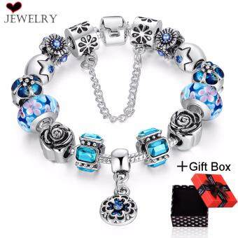 Harga Loveu Ladies Charm Bracelet Silver Plated Bangles Fashion Jewelry Bracelets Luxury Glass Crystal Beads Bracelet for Women Teen Girls
