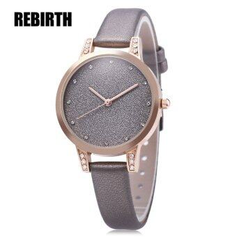 Harga MiniCar REBIRTH RE018 Female Quartz Watch Artificial Diamond Shiny Dial Leather Band Wristwatch Gray(Color:Gray)