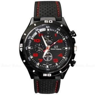 Harga SoKaNo Trendz Red Number Military Pilot Silicone Sport Wrist Watch