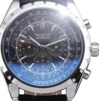 Harga JARAGAR 8303 Stainless Steel Case Synthetic Leather Men Male Skeleton Automatic Mechanical Self Wind Military Sport Business Wrist Watch (Blue Face)