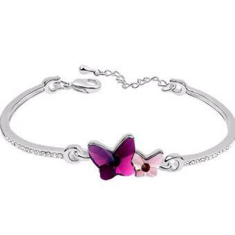 Harga LOVENGIFTS Swarovski Adore Butterflies Bangle (Purple)