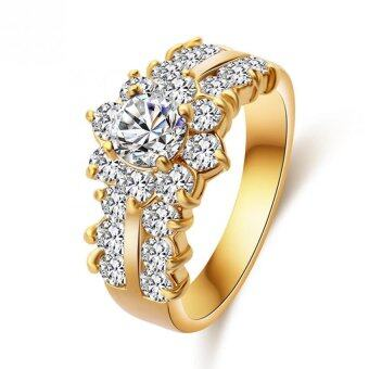 Harga Women Rings For Girls CZ Jewelry Gold Plated Ring White