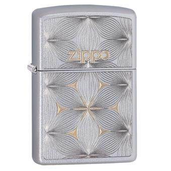 Harga Zippo 29411 USA Windproof Lighter- Satin Chrome- Flowers (Silver+Gold)