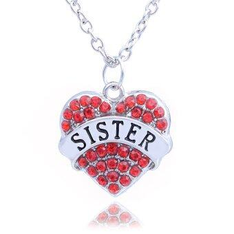Harga Best Gift for Sister Red Rhinestone Crystal Love Heart Charm Pendant Necklace Family Jewelry for Girl