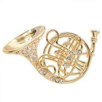 Harga Jewel Crystal Big French Horn Brooch Pin 2pcs Gold