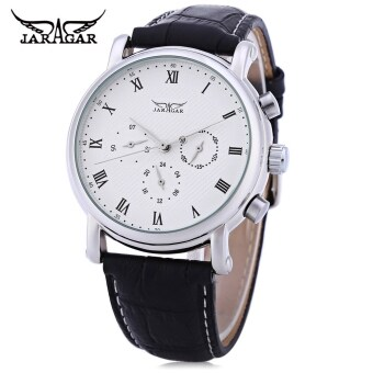 Harga JARAGAR F1205306 Male Auto Mechanical Watch 24 hours Calendar Display Transparent Back Cover Wristwatch