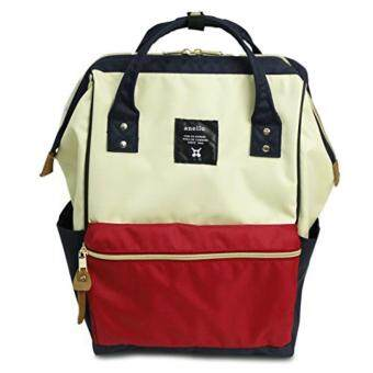 Harga OEM Anello Japan Backpack large size trendy design multipurpose college, work, travel, casual, mom diaper backpack (White-red)