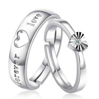Harga Couple Rings Jewellry 925 Silver Adjustable Lovers Ring Jewelry E003