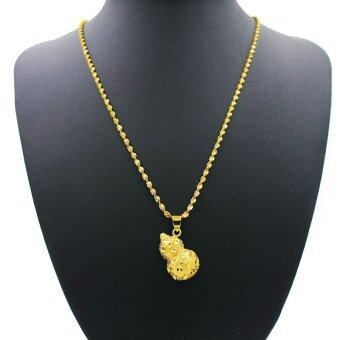 Harga MoNo 24K Gold Plated Gourd Shaped Fine Pendant Necklace (Gold)