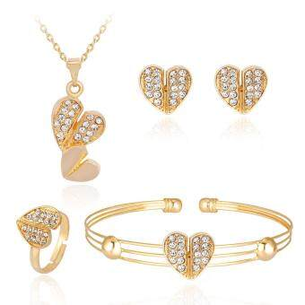 Harga Kuhong 4pcs/Set Rhinestone Love Heart Necklace Earrings Bracelet Ring Jewelry Wedding