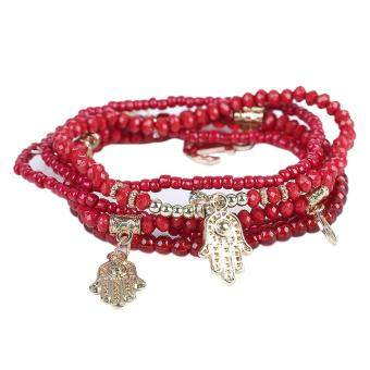Harga Lucky Hand Evil Eye Butterfly Bracelets Multilayer Beads Bangles (Red)