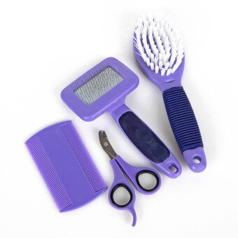 Harga Comb for dogs and cat grooming comb brush Clean and Beauty fourpieces set purple pet hair combing set (OVERSEAS)