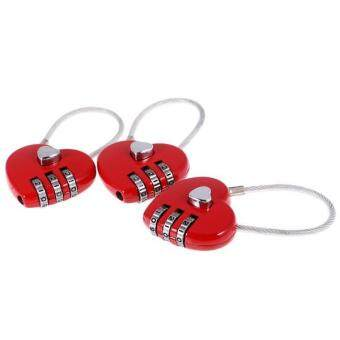 Harga BolehDeals 3 Pieces Lovely Heart Resettable Wire Combination Padlock Travel Lock Red