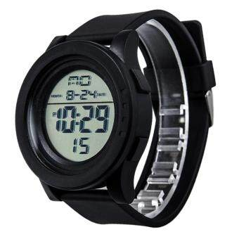 Harga Waterproof en LCD Digital Stopwatch Date Rubber Sport Wrist Watch