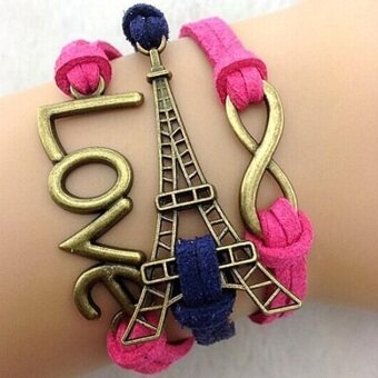 Harga Fashion Love Eiffel Leather Cute Infinity Charm Bracelet Jewelry Plated For Women Pink Purple - Intl