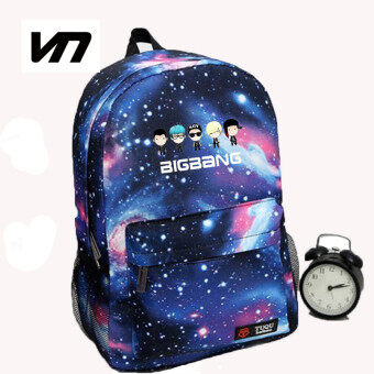 Harga Korean New Galaxy Printing Backpack For Women BTS Backpack GOT7 Bigbang Waterproof Nylon Men's Backpack School Bag For Teenagers