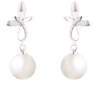 Harga Lazo Diamond Dragonfly White Gold Diamond Pearl Earrings