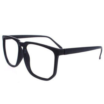 Harga YBC Unisex Oversized Retro Nerd Geek Clear Lens Plain Optical Glasses Black