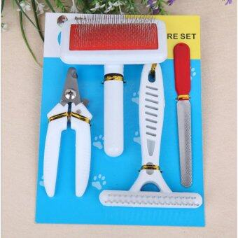 Harga 4 Pcs Stainless Steel Pet Grooming Set Safe Manicure Kit Shedding Tool of Pet Hair Comb, Pet Shedding Brush, Pet Nail Clipper, Pet Nail File for Small, Medium&Large Dogs Cats,Short&Long Hair-White