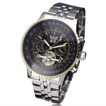 Harga JARAGAR Stainless Steel Case Leather Strap Men Male Fashion Business Sport Casual Army Military Skeleton Automatic Mechanical Wrist Watch - Gold Circle + Black Dial