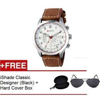 Harga Curren Mens Brown Leather Strap Watch 8152 + FREE iShade ClasicDeigner (Black)(Not Specified)(OVERSEAS)