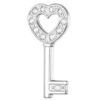 Harga U7 Rhinestone Heart Key Brooches Platinum Plated Fashion Jewelry Love Accessories for Men/Women (Platinum)(Export)
