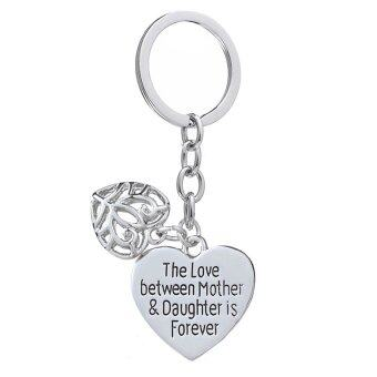 Harga Mother's Day Gift Love Between Mother Daughter Is Forever Double Heart Key Chain Ring for Family Women