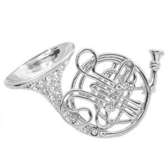 Harga Jewel Crystal Big French Horn Brooch Pin 2pcs Silver