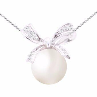 Harga Lazo Diamond Ribbon White Gold Diamond Cultured Pearl Pendant