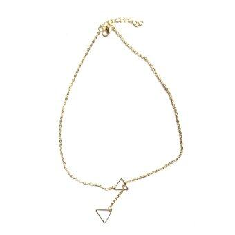 Harga Women Pendant Chain Infinity Choker Chunky Double Triangle Necklace Golden