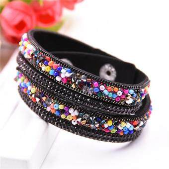 Harga Fashion Double laps Wrap Bracelet Slake Leather Bracelets With Colorful crystal bracelets & bangles Jewelry wholesale