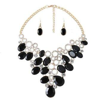 Harga DiLiCa Fashion Women Jewelry Stone Cluster Choker Bib Statement Necklace Pendant Stud Earrings Set