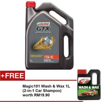 Harga CASTROL GTX Modern Engine15W40 SMCF 4 Liters FREE Magic101 Wash & Wax 1L worth RM19.90
