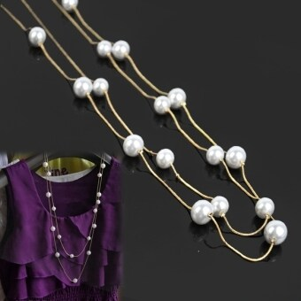 Harga Jo.In Ladies Nice Jewelry Pearl Double Layer Long Necklace (Multicolor)