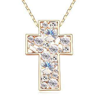 Harga LOVENGIFTS Swarovski Glitter Cross Pendant Necklace