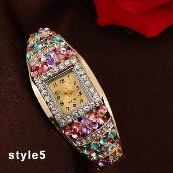 Harga Colorful Girl Ladies Gorgeous New Bangle Watches Crystal Flower Bracelet Watch Women Fashion Quartz Alloy Wristwatches