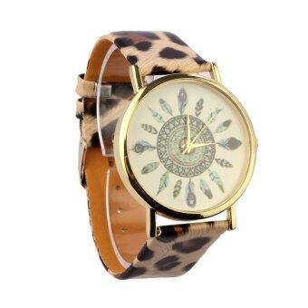 Harga Vintage Feather Leopard Dial Leather Band Quartz Unique Wrist Watches