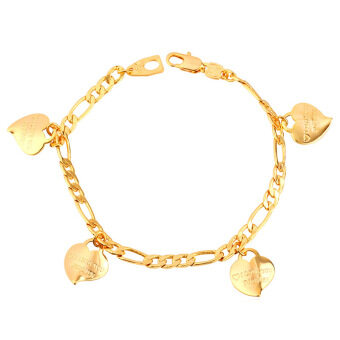 Harga U7 I LOVE YOU Romantic Heart Charm Bracelet For Women 18K Real Gold Plated Jewelry Gift (Gold)