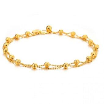 Harga DeParis Premium 18K Double Layer LUCKY Beading ANKLET (Gold )