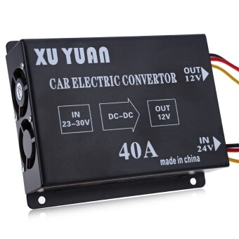 Harga MiniCar 40A DC 24V to 12V Voltage Reducer Efficient Car Power Supply Transformer Black(Color:Black)