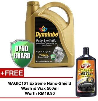 Harga Dynolube 5W40 SN/CF Fully Synthetic 4L FREE Magic101 Extreme Nano-Shield Wash & Wax 500ml worth RM19.90