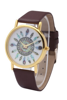 Harga Indian Ethnic Style Pretty Leather Peacock Feather Geneva Watch For Women Wrist Watch Quartz Watches (Brown)